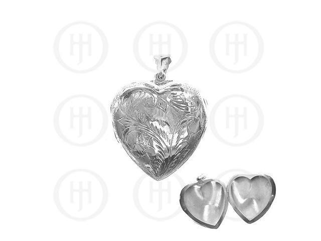 Sterling Silver Engraved Heart Locket Pendant 41mm x 41mm
