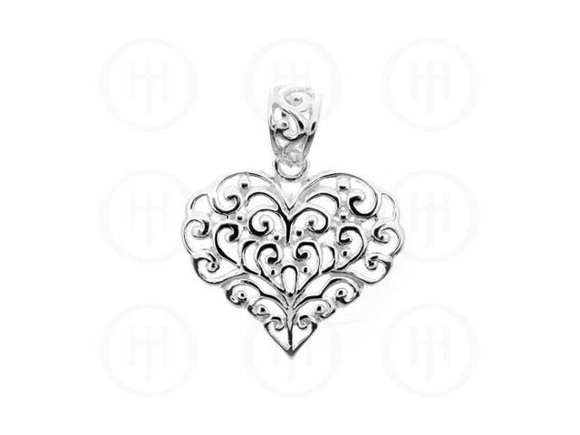 Sterling Silver Hand-Carved  Heart Pendant