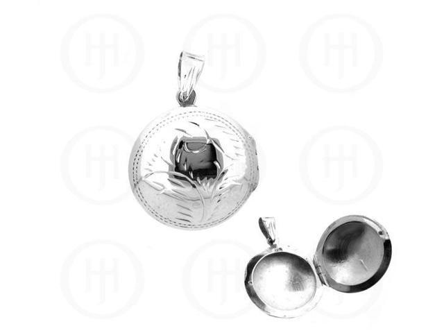 Sterling Silver Engraved round Locket pendant 25.5mmx33mm