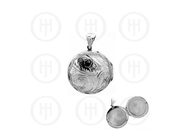 Sterling Silver Engraved Round Locket Pendant 30mm