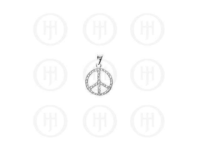Sterling Silver CZ Assorted Peace Sign Pendant