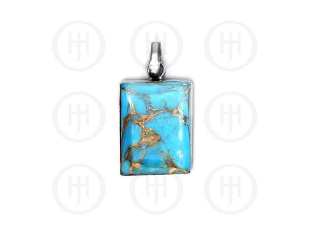 Sterling Silver Blue Copper Turquoise Gemstone Pendant