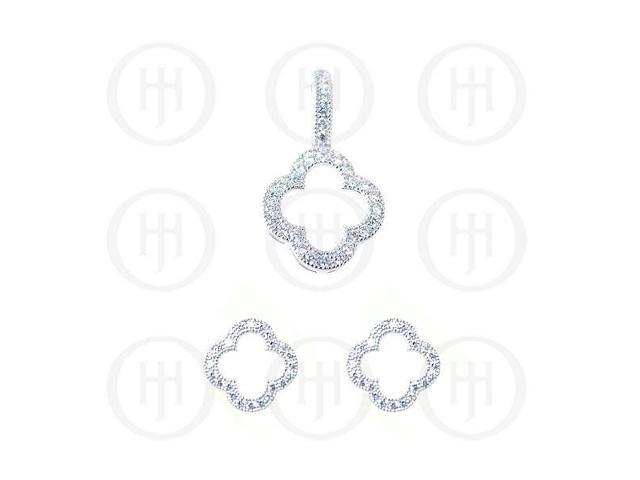 Sterling Silver Rhodium Plated Assorted CZ Designer Inspired Cutout Pendant and Stud Earrings Set