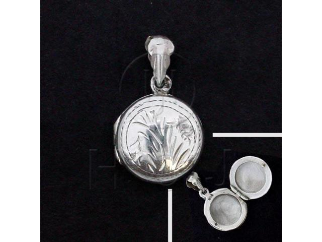 Sterling Silver Round Engraved Locket Pendant 18mm
