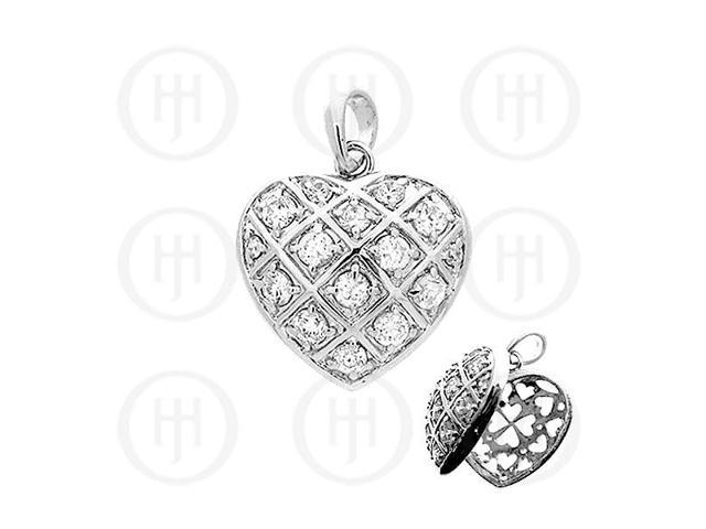 Sterling Silver CZ Heart Locket
