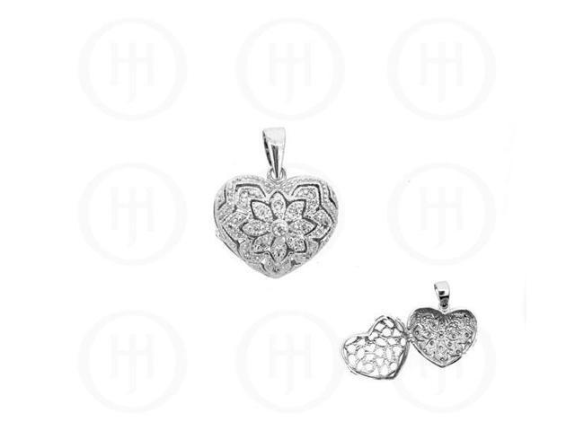 Sterling Silver CZ Heart Locket 18mm