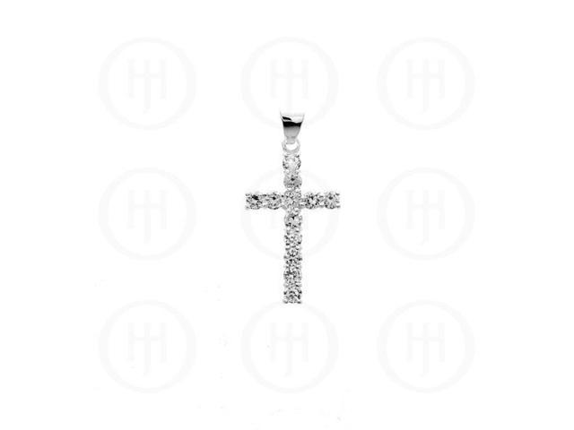 Sterling Silver Cubic Zirconia Religious Cross Pendant