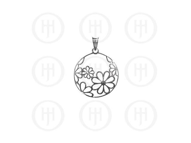 Sterling Silver Flower Circular Pendant