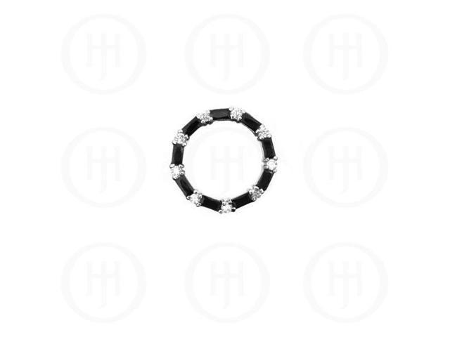 Sterling Silver CZ Baguette Circle of Life Pendant Black Onyx