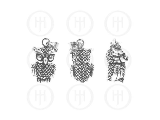 Sterling Silver Movable Pendant Owl Large