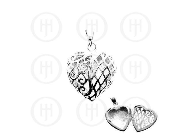 Sterling Silver Hand-Carved Heart Locket Pendant