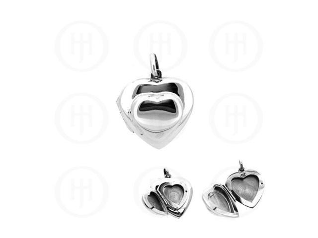 Sterling Silver Double Heart Locket  23mm x 23mm