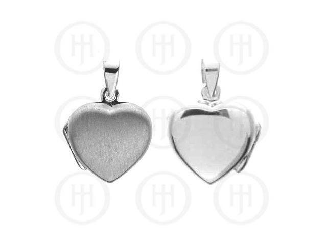 Sterling Silver Heart Locket  Satin Finish14mm