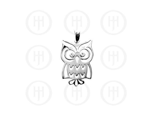 Sterling Silver Owl CZ Pendant