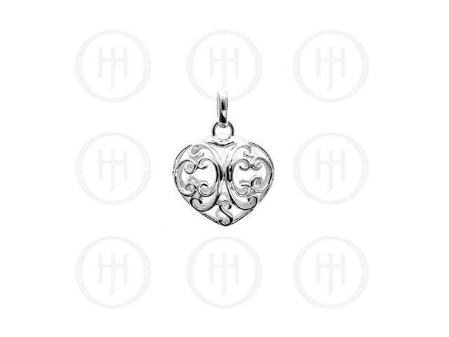 Sterling Silver Puffed Hand- Carved Heart Pendant