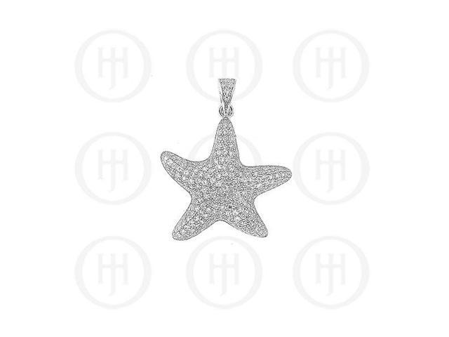 Sterling Silver CZ Puffed Micro Pave Starfish Pendant