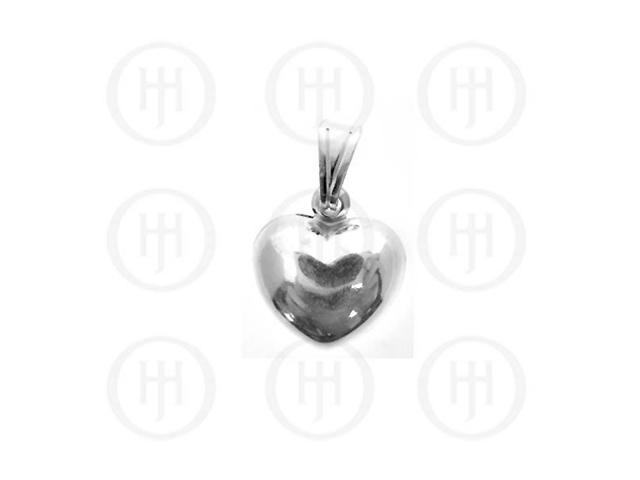Sterling Silver Puffed Heart Pendant 15mm