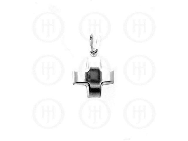 Sterling Silver Enamel Puffed Pendant Cross