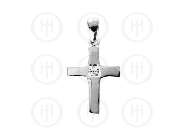 Sterling Silver Religious Cross Pendant with Cubic Embellishment