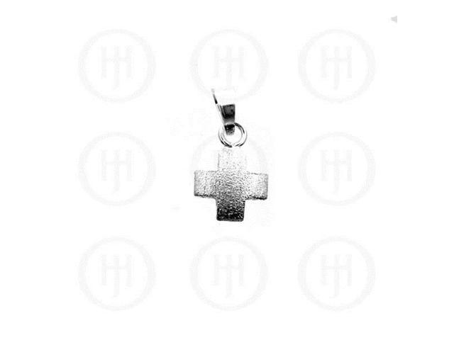 Sterling Silver Enamel Puffed Pendant Sandblasted Cross