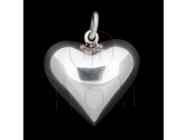 Sterling Silver Puffed Heart Pendant 25mm