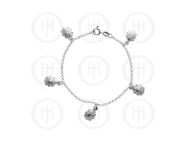 Sterling Silver Puffed Bracelet with Ladybug Pendants