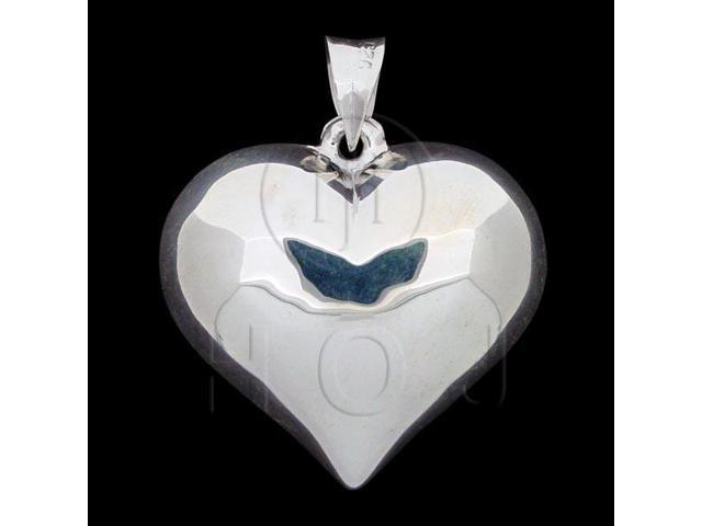Sterling Silver Puffed Heart Pendant 30mm