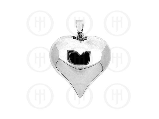 Sterling Silver Puffed Heart Pendant 40mm
