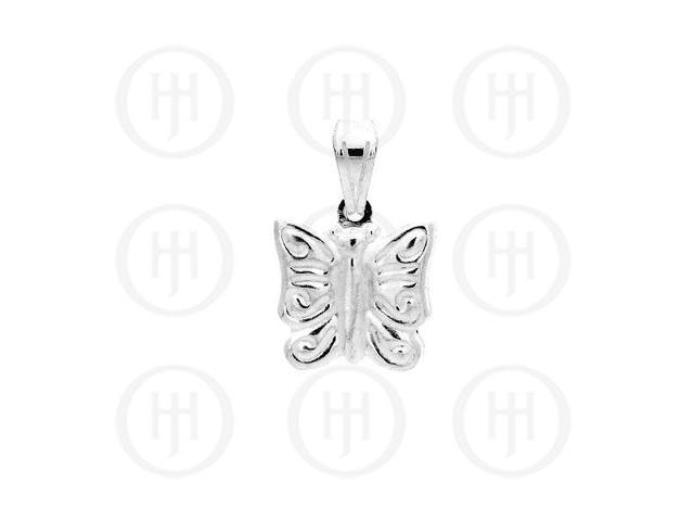 Sterling Silver Puffed Butterfly Pendant Small