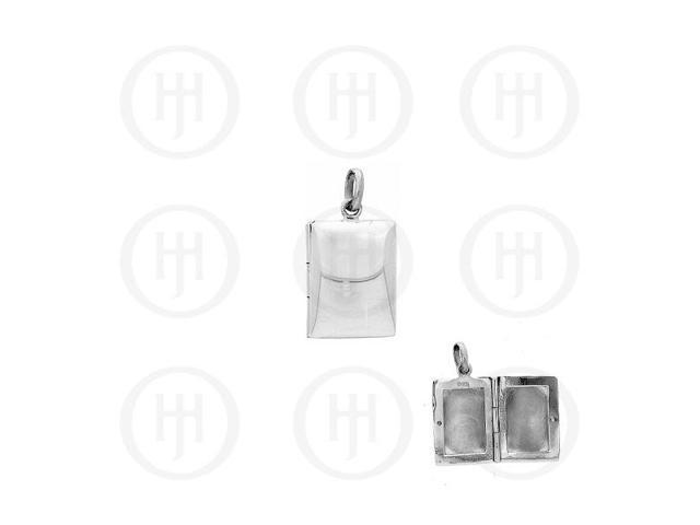 Sterling Silver Rectangle Locket Pendant Plain 19mm x 14mm