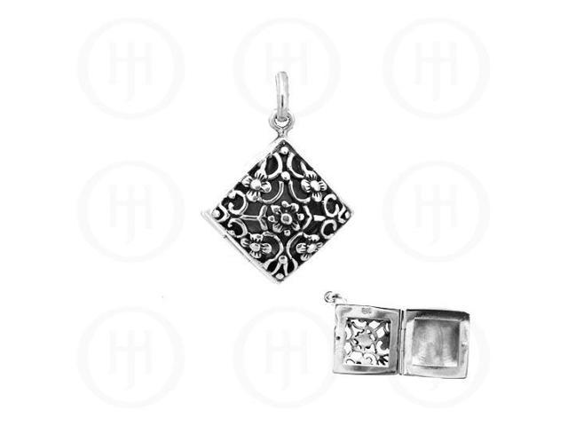 Sterling Silver Engraved Diamond Shaped  Locket 16mm x 16mm