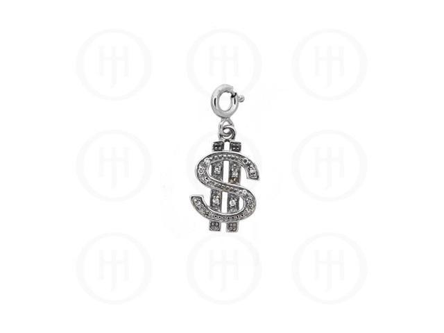 Sterling Silver CZ Dollar Sign Pendant