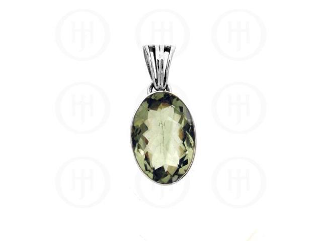 Sterling Silver Stone Pendant Green Amethyst