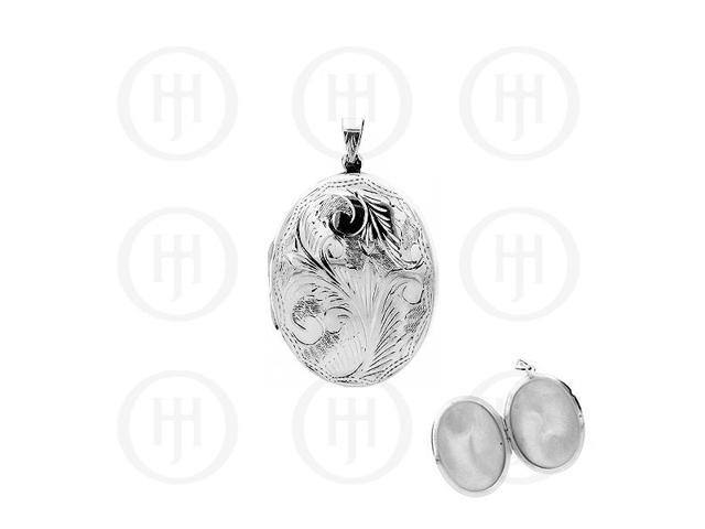 Sterling Silver Engraved Large Oval Locket Pendant 50mm x 40mm
