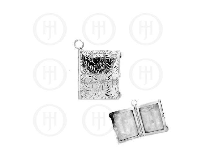 Sterling Silver Engraved Large Rectangle Locket Pendant 30mm x 37mm