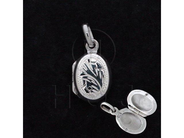 Sterling Silver Engraved Locket Pendant Oval 10x15mm