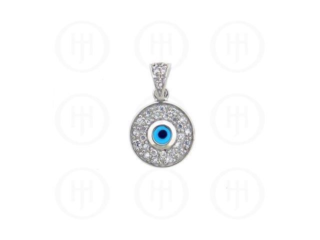 Sterling Silver CZ Evil Eye Pendant
