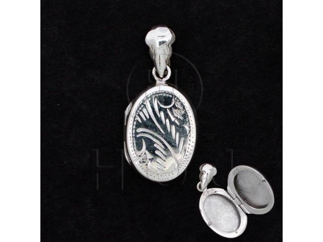Sterling Silver Engraved Locket Pendant Oval 14x18mm