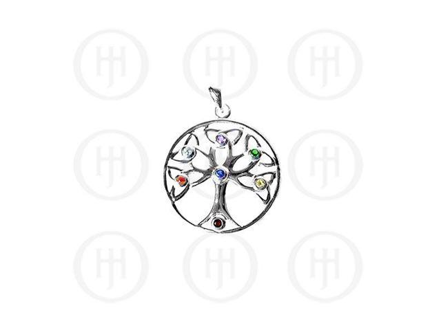 Sterling Silver Tree of Life with 7 Chakra Stones Pendant
