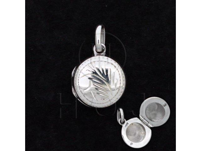 Sterling Silver Engraved Locket Pendant Round 13mm