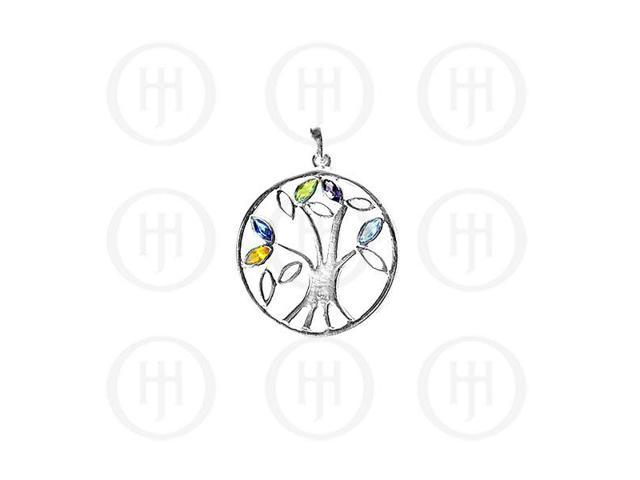 Sterling Silver Tree of Life with Genuine Stone  Pendant