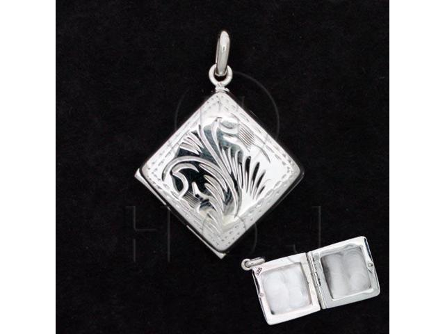 Sterling Silver Engraved Locket Pendant Square 18mm