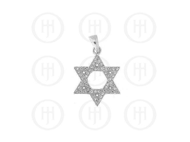 Sterling Silver CZ Micro Pave Star of David Pendant