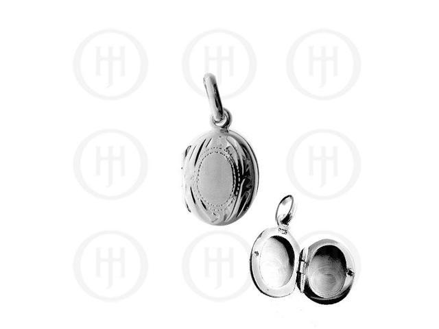 Sterling Silver Engraved Mini Oval Locket 13mm x 10mm
