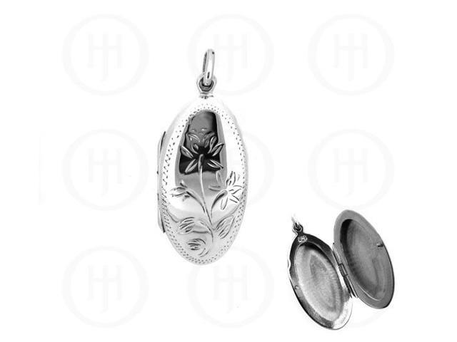 Sterling Silver Engraved Oval Locket 25mm x 48mm