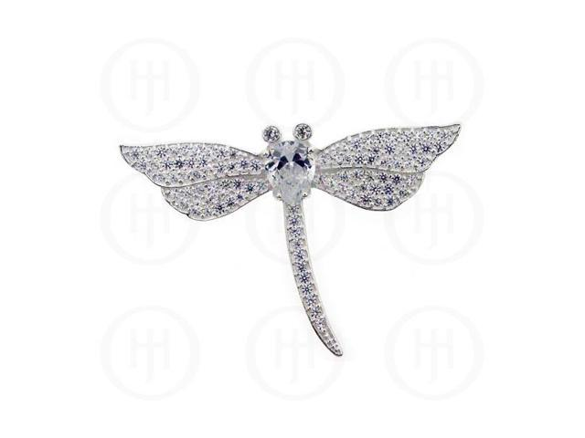 Sterling Silver CZ Pendant Dragon Fly