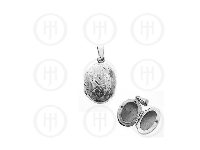 Sterling Silver Engraved Oval Locket Pendant