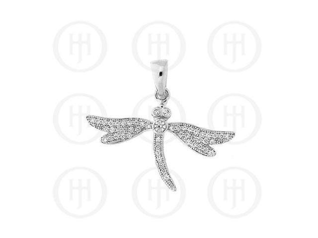 Sterling Silver CZ Pendant Micro Pave Dragon Fly