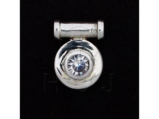 Sterling Silver CZ Pendant Round 13mm