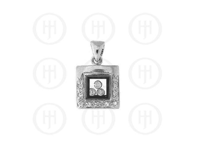 Sterling Silver CZ Square Pendant